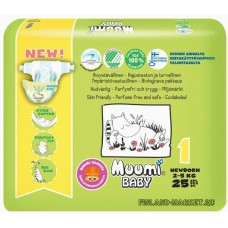 Гипоаллергенные подгузники Muumi New Born 1 от 2-5 кг, 25 шт