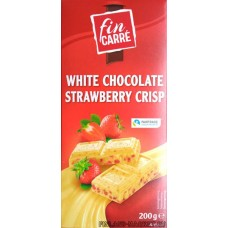 Шоколад белый fin KARRE White Chocolate Strawberry Crisp с клубникой, 200 гр