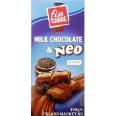 Шоколад молочный fin KARRE Milk Chocolate & Neo (с печеньем), 200 гр